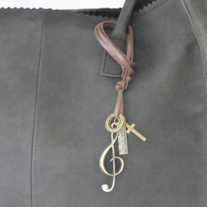 Koord bruin leer vintage hanger of ketting voor tas g-sleutel gadgets voor gitaar en muziek cadeau