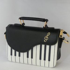 Handtas schoudertas piano motief goud accent gadgets voor gitaar en muziek cadeau