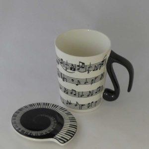 Mok en deksel thee tip met muziek noten motief g-sleuterl gadgets voor gitaar en muziek cadeau