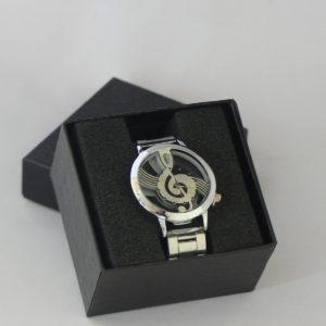 Horloge zilverkleurig g-sleutel stalen band transparante kast heren gadgets voor gitaar en muziek cadeau