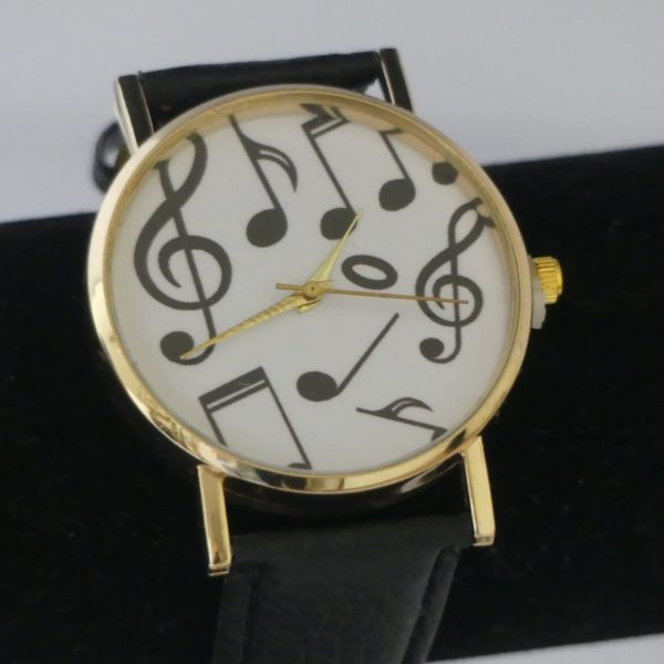 Horloge goudkleurige kast muzieknoten g-sleutel zwart leren band gadgets voor gitaar en muziek cadeau