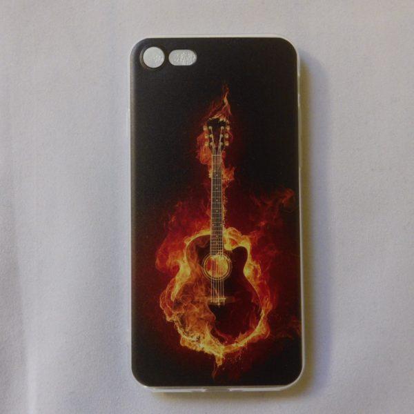Iphone 6 en 6s hoesje met akoestische gitaar in vlammen