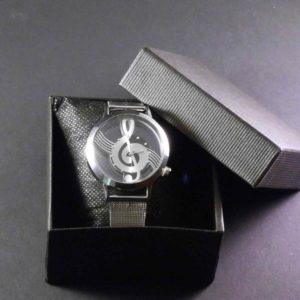 Horloge zilverkleurig g-sleutel stalen band transparante kast dames gadgets voor gitaar en muziek cadeau