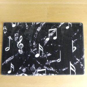 Deurmat zwart met muziek patroon en antislip voor binnen gadgets voor gitaar en muziek cadeau
