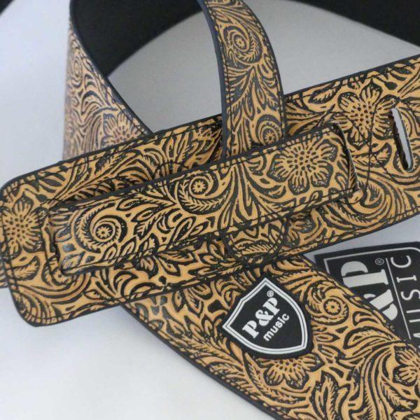Hippe beige designer gitaarbandmet bloemen motief gadget voor gitaar en muziek cadeau