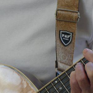 Hippe blauwe designer gitaarbandmet bloemen motief gadget voor gitaar en muziek cadeau