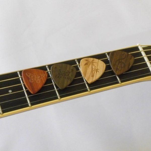 plectrum hout gravures gitaar