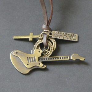 Koord bruin leer vintage hanger of ketting voor tas gitaar gadgets voor gitaar en muziek cadeau