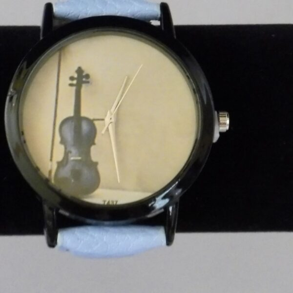 Horloge viool lichtblauwe band