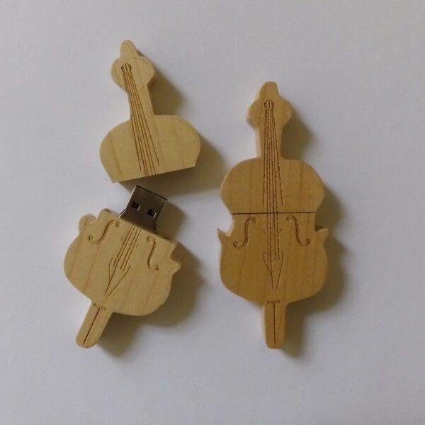 USB stick contrabas hout